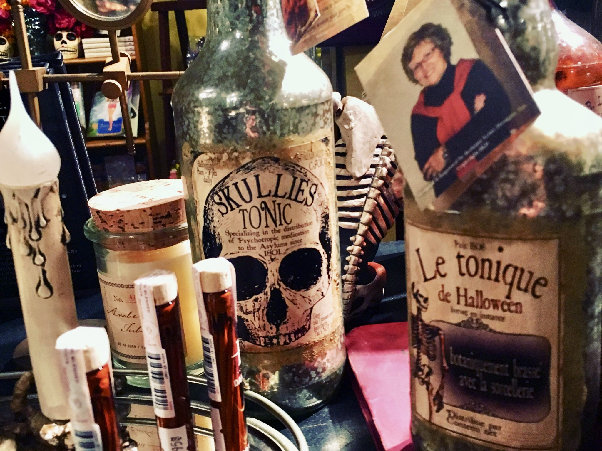 spooky items are for sale in the gift shop of the Haunted Whaley House in San Diego's Old Town